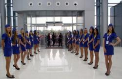 kharkov international airport hostesses lined up